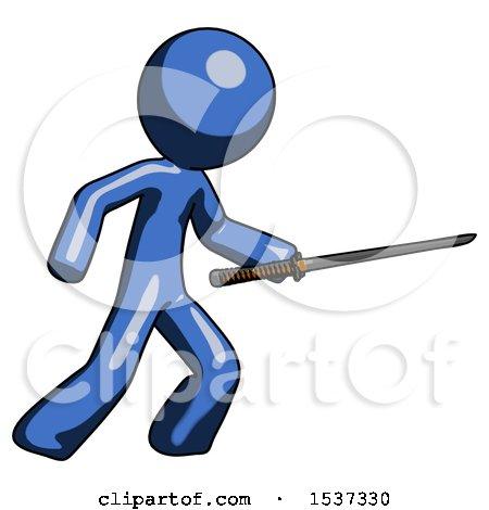 Blue Design Mascot Man Stabbing with Ninja Sword Katana by Leo Blanchette