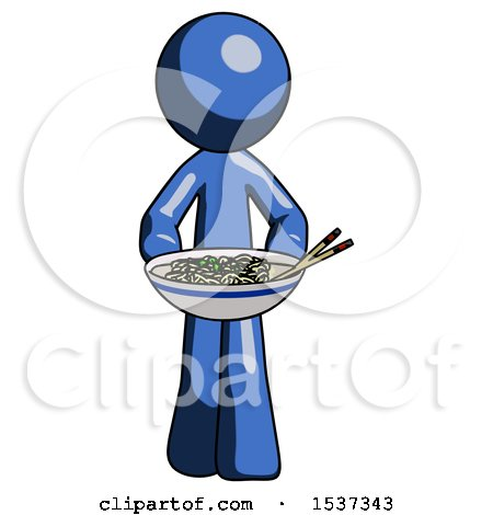 Blue Design Mascot Man Serving or Presenting Noodles by Leo Blanchette