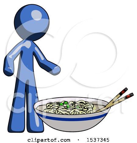 Blue Design Mascot Man and Noodle Bowl, Giant Soup Restaraunt Concept by Leo Blanchette