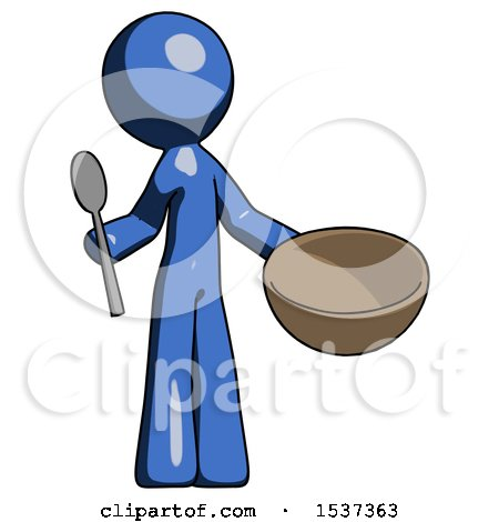 Blue Design Mascot Man with Empty Bowl and Spoon Ready to Make Something by Leo Blanchette