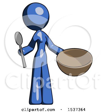 Blue Design Mascot Woman with Empty Bowl and Spoon Ready to Make Something by Leo Blanchette