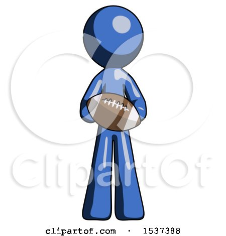 Blue Design Mascot Man Giving Football to You by Leo Blanchette