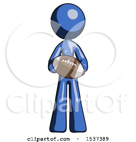 Blue Design Mascot Woman Giving Football to You by Leo Blanchette