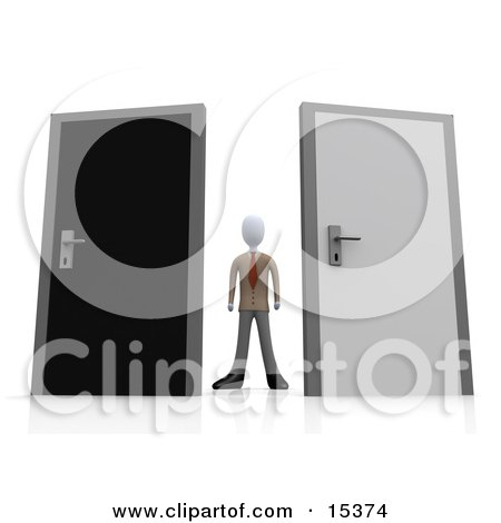 Uncertain Businessman Standing Between A Black And A Grey Door, Trying To Decide Which Career Path To Take Clipart Illustration Image by 3poD