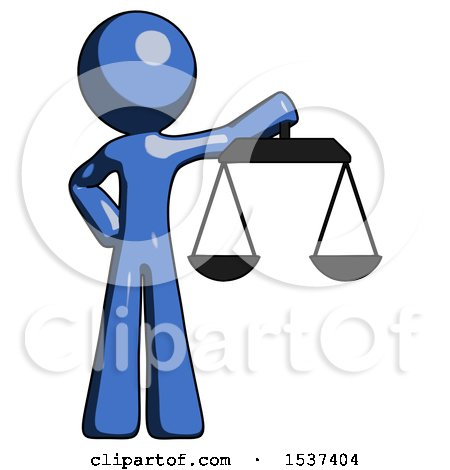 Blue Design Mascot Man Holding Scales of Justice by Leo Blanchette