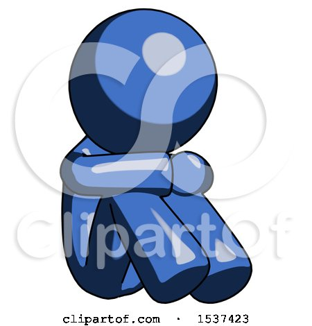 Blue Design Mascot Man Sitting with Head down Facing Angle Right by Leo Blanchette