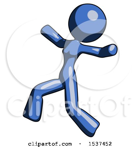 Blue Design Mascot Woman Running Away in Hysterical Panic Direction Left by Leo Blanchette