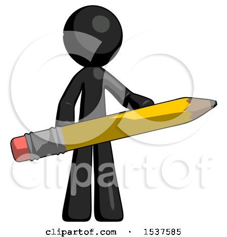 Black Design Mascot Man Writer or Blogger Holding Large Pencil by Leo Blanchette