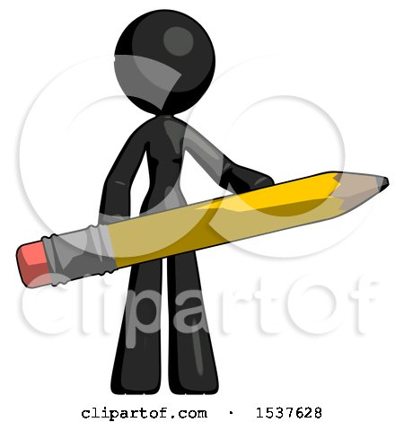 Black Design Mascot Woman Office Worker or Writer Holding a Giant Pencil by Leo Blanchette