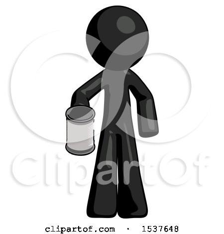 Black Design Mascot Man Begger Holding Can Begging or Asking for Charity by Leo Blanchette