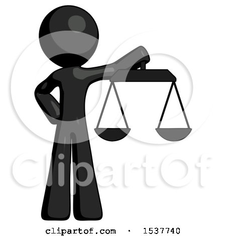 Black Design Mascot Man Holding Scales of Justice by Leo Blanchette