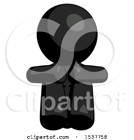 Black Design Mascot Woman Sitting with Head down Facing Forward by Leo Blanchette