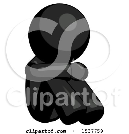 Black Design Mascot Man Sitting with Head down Facing Angle Right by Leo Blanchette