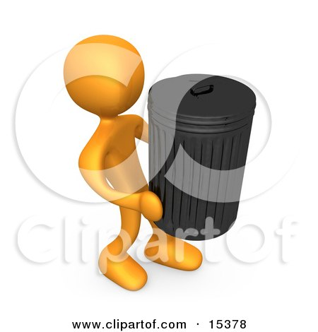 Orange Person Carrying A Heavy Trash Can Out To The Curb On Garbage Day Clipart Illustration Image by 3poD
