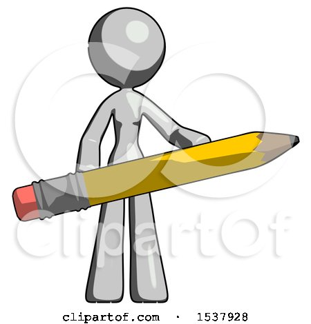Gray Design Mascot Woman Office Worker or Writer Holding a Giant Pencil by Leo Blanchette