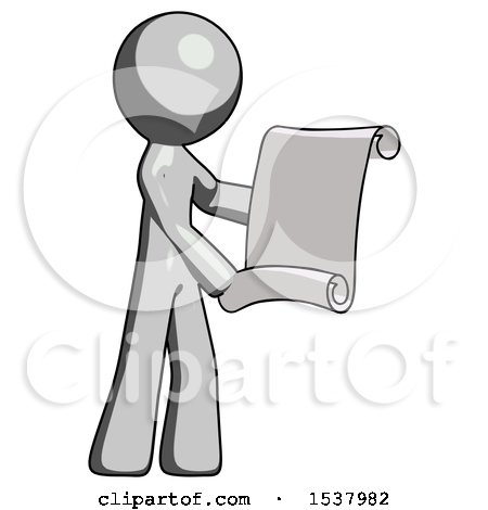 Gray Design Mascot Man Holding Blueprints or Scroll by Leo Blanchette