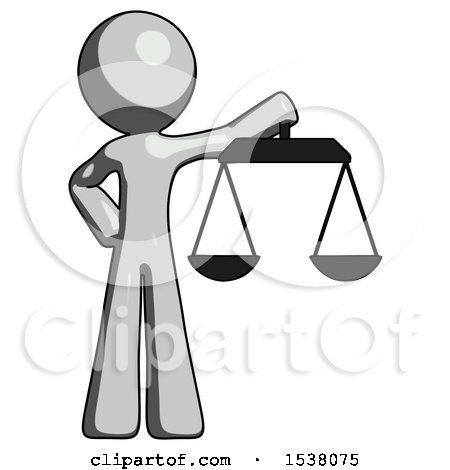 Gray Design Mascot Man Holding Scales of Justice by Leo Blanchette