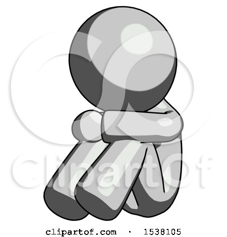 Gray Design Mascot Man Sitting with Head down Facing Angle Left by Leo Blanchette