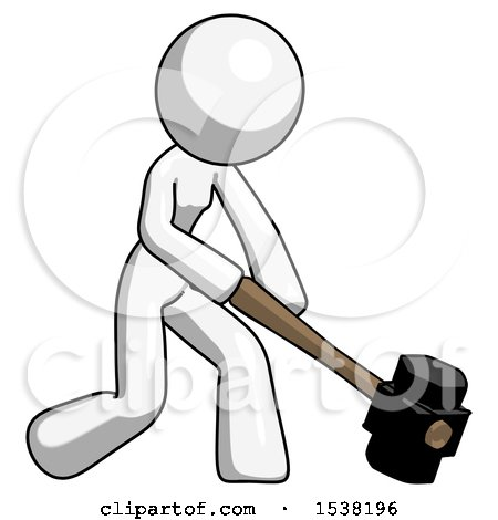 White Design Mascot Woman Hitting with Sledgehammer, or Smashing Something at Angle by Leo Blanchette