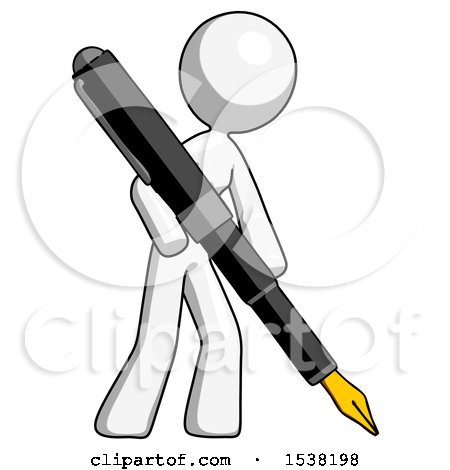White Design Mascot Woman Drawing or Writing with Large Calligraphy Pen by Leo Blanchette