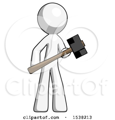 White Design Mascot Man with Sledgehammer Standing Ready to Work or Defend by Leo Blanchette