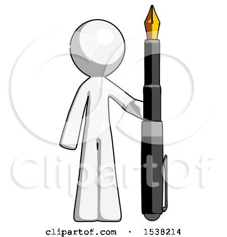 White Design Mascot Man Holding Giant Calligraphy Pen by Leo Blanchette