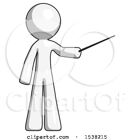 White Design Mascot Man Teacher or Conductor with Stick or Baton Directing by Leo Blanchette