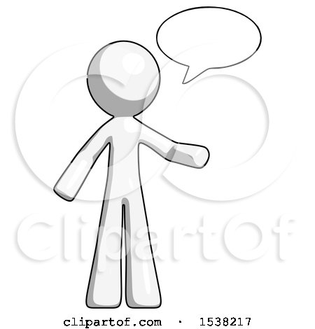 White Design Mascot Man with Word Bubble Talking Chat Icon by Leo Blanchette