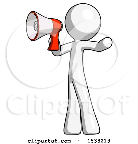 White Design Mascot Man Shouting into Megaphone Bullhorn Facing Left by Leo Blanchette