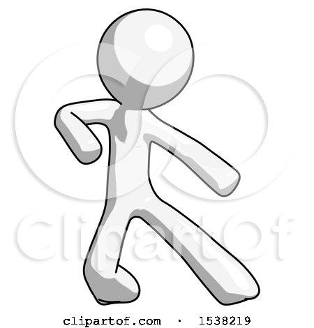 White Design Mascot Man Karate Defense Pose Right by Leo Blanchette