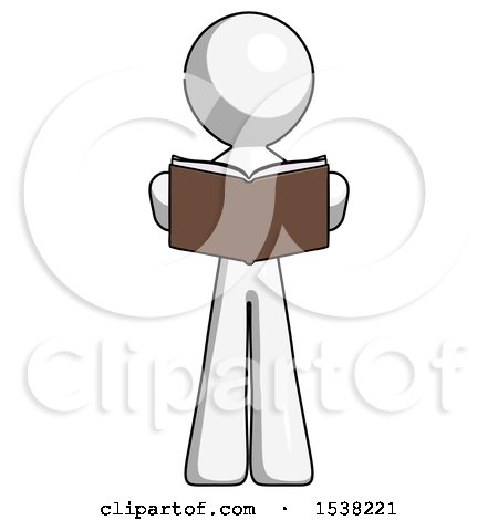 White Design Mascot Man Reading Book While Standing up Facing Viewer by Leo Blanchette