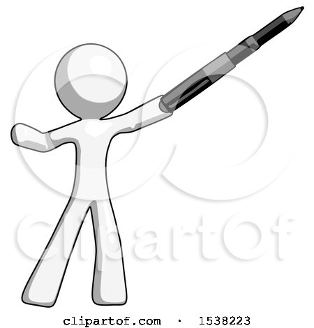 White Design Mascot Man Demonstrating That Indeed the Pen Is Mightier by Leo Blanchette