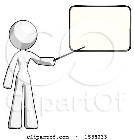 White Design Mascot Woman Pointing at Dry-erase Board with Stick Giving Presentation by Leo Blanchette