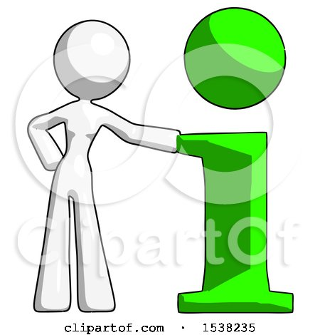 White Design Mascot Woman with Info Symbol Leaning up Against It by Leo Blanchette