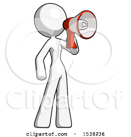White Design Mascot Woman Shouting into Megaphone Bullhorn Facing Right by Leo Blanchette