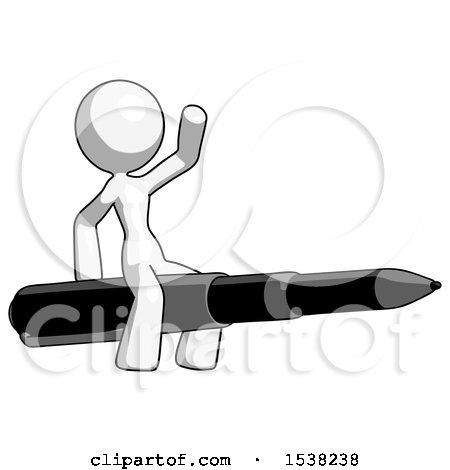White Design Mascot Woman Riding a Pen like a Giant Rocket by Leo Blanchette