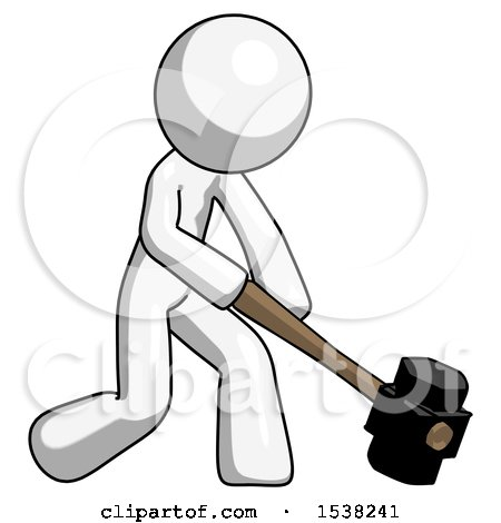 White Design Mascot Man Hitting with Sledgehammer, or Smashing Something at Angle by Leo Blanchette