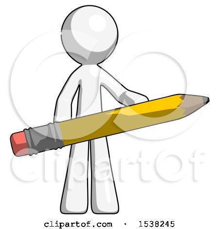 White Design Mascot Man Writer or Blogger Holding Large Pencil by Leo Blanchette