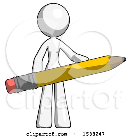 White Design Mascot Woman Office Worker or Writer Holding a Giant Pencil by Leo Blanchette