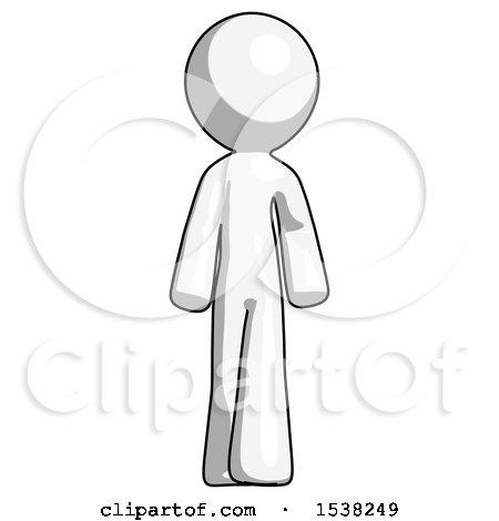 White Design Mascot Man Walking Front View by Leo Blanchette