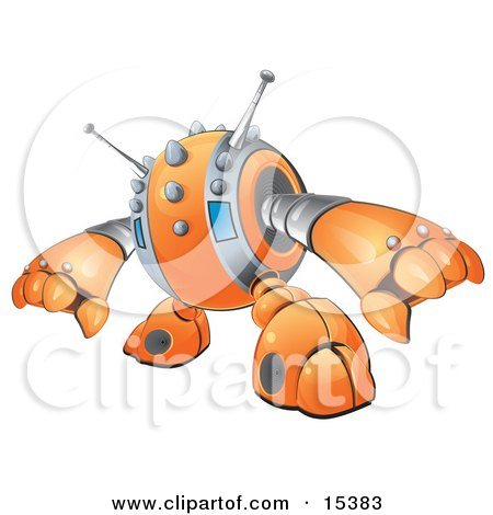 An Orange Spiky Robot Reaching Out To Grasp Something Clipart Image Picture by Leo Blanchette
