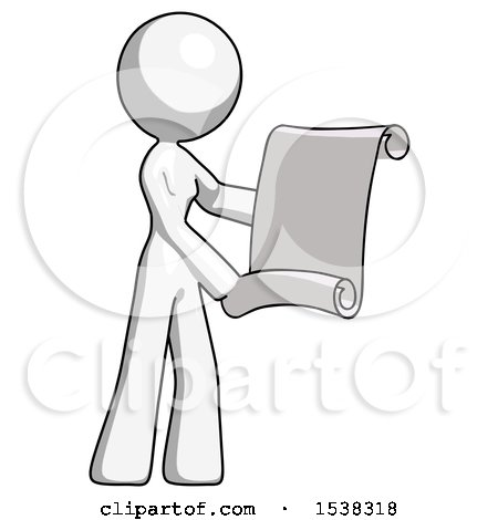 White Design Mascot Woman Holding Blueprints or Scroll by Leo Blanchette
