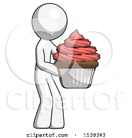 White Design Mascot Man Holding Large Cupcake Ready to Eat or Serve by Leo Blanchette