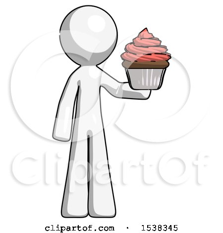 White Design Mascot Man Presenting Pink Cupcake to Viewer by Leo Blanchette