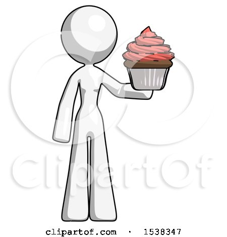 White Design Mascot Woman Presenting Pink Cupcake to Viewer by Leo Blanchette