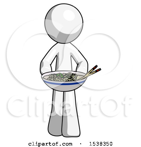 White Design Mascot Man Serving or Presenting Noodles by Leo Blanchette