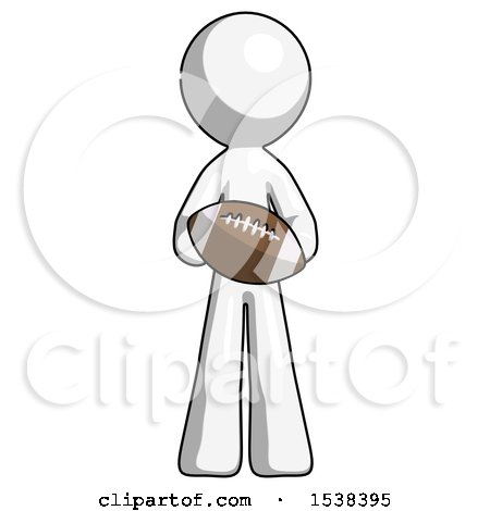 White Design Mascot Man Giving Football to You by Leo Blanchette