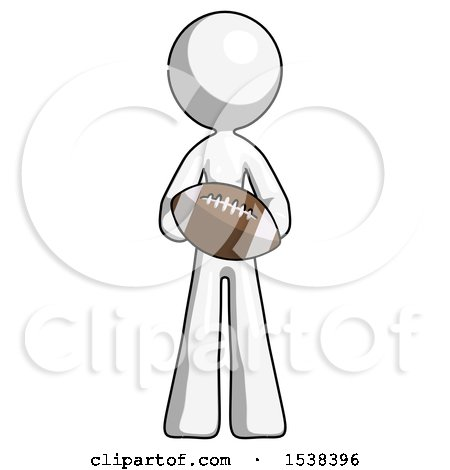 White Design Mascot Woman Giving Football to You by Leo Blanchette