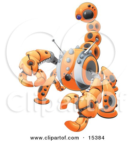 Orange Scorpion Robot In Defense Pose, Preparing To Attack Clipart Image Picture by Leo Blanchette