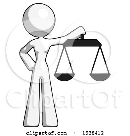 White Design Mascot Woman Holding Scales of Justice by Leo Blanchette